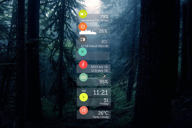 Flat & Blurry Rainmeter skin